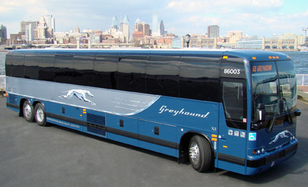 A grey and blue Greyhound bus.