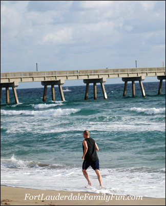 Man jogging on Deerfield Beach