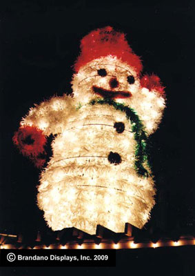 A giant snowman light display at the Holiday Fantasy of Lights