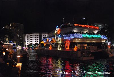 View of a boat at the Winterfest Boat Parade