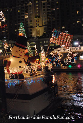 A boat at the Winterfest Boat Parade