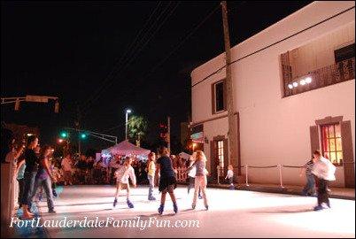 Ice skating on Las Olas Boulevard